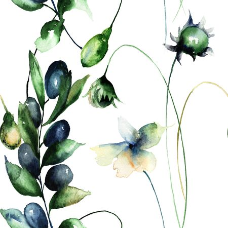 in peas: Seamless wallpaper with wild flowers, watercolor illustration Stock Photo