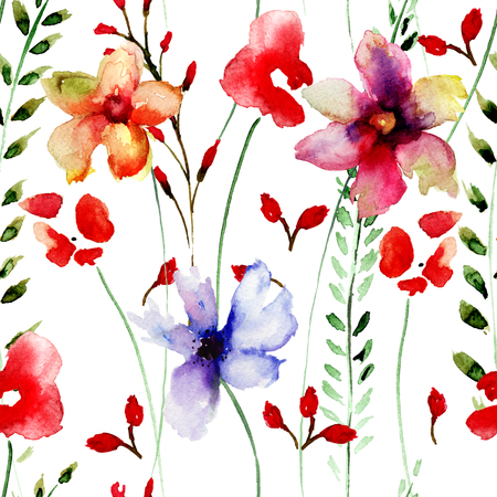 repeat structure: Seamless wallpaper with flowers, watercolor illustration