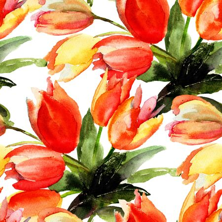 fabric painting: Seamless pattern with Tulips flowers, Watercolor painting