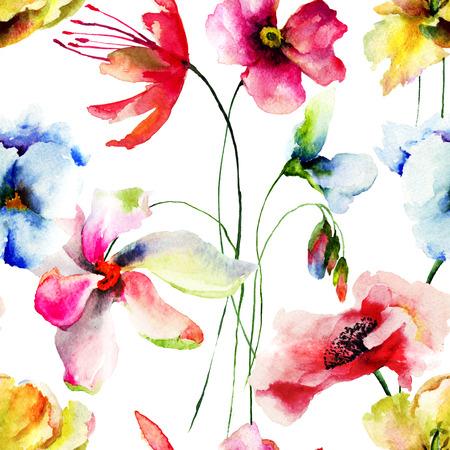 gerber: Seamless wallpaper with Original flowers watercolor illustration Stock Photo