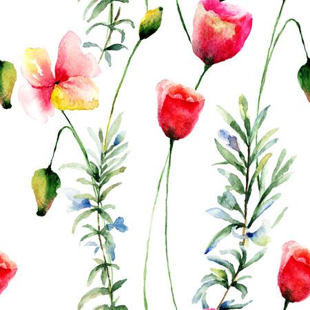 poppy flowers: Stylized Poppy flowers illustration, seamless wallpaper Stock Photo