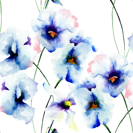 in peas: Seamless wallpaper with Blue pansy flowers, watercolor illustration Stock Photo