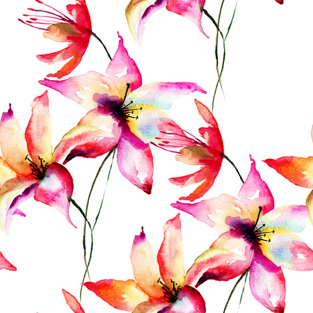 lily flowers: Seamless wallpaper with Lily flowers, watercolor illustration