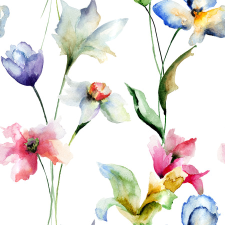 Summer seamless pattern with flowers, watercolor illustration