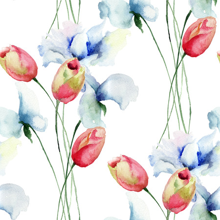 Seamless pattern with Tulips and Sweet pea flowers, watercolor illustration