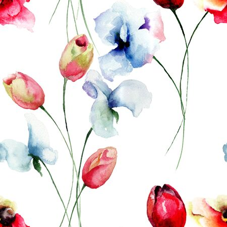 sweet pea: Seamless pattern with Tulips, Poppy and Sweet pea flowers, watercolor illustration Stock Photo