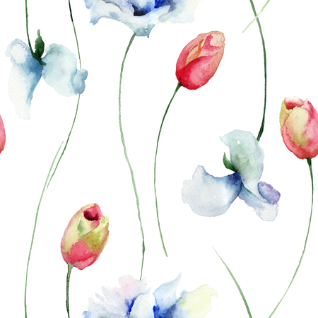 sweet pea: Seamless pattern with Tulips and Sweet pea flowers, watercolor illustration