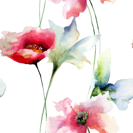 postcards: Floral seamless pattern, watercolor illustration Stock Photo
