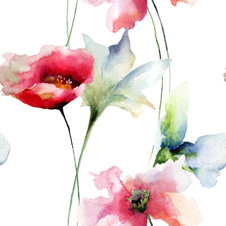 postcard: Modelo inconsútil floral, ejemplo de la acuarela