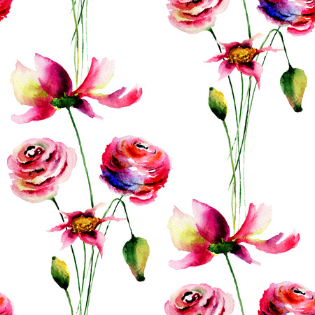 wall paper: Seamless pattern with Colorful wild flowers, watercolor illustration