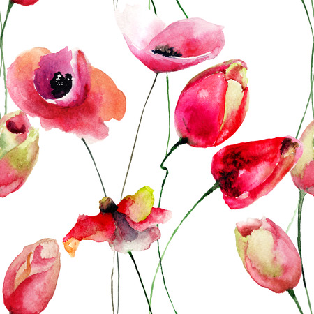 gerber daisy: Poppy and Tulips flowers, watercolor illustration Stock Photo