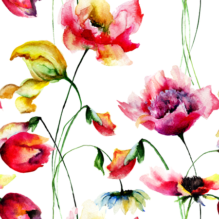 red wallpaper: Seamless wallpaper, Original watercolor illustration with flowers Stock Photo