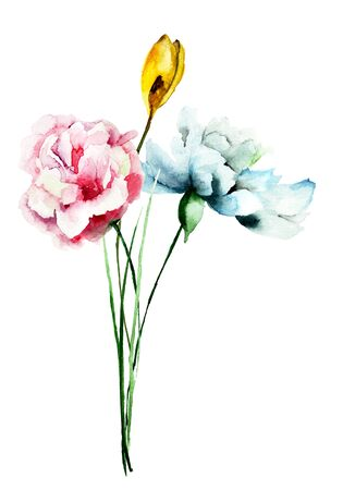 wallpaper floral: Stylized flowers watercolor illustration Stock Photo