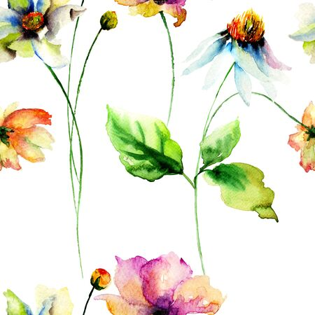 Seamless pattern with Original Summer flowers, watercolor illustration Stock Photo
