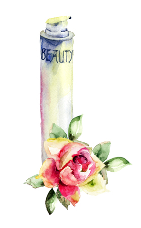simple purity flowers: Watercolor illustration of cosmetic container