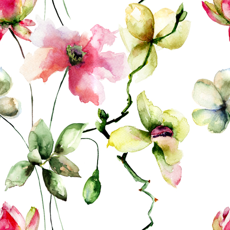 orchid: Seamless pattern with Original flowers, watercolor illustration