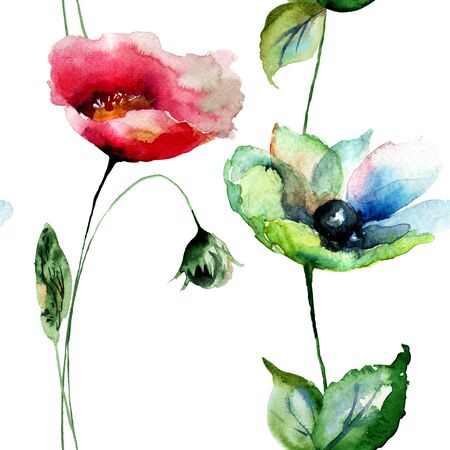 poppy pattern: Seamless pattern with Poppy and Gerber flowers, watercolor illustration
