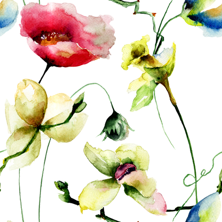 orchidee: Seamless pattern with Original flowers, watercolor illustration