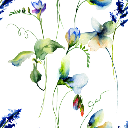 in peas: Seamless wallpaper with Sweet pea flowers, watercolor illustration