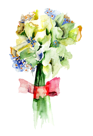 Bunch of Narcissus flowers, watercolor painting Stock fotó