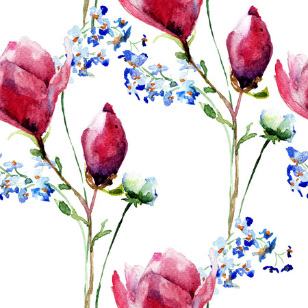 Seamless wallpaper with Original flowers, watercolor illustration Stock Photo