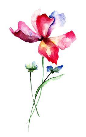 Beautiful flowers, watercolor illustration