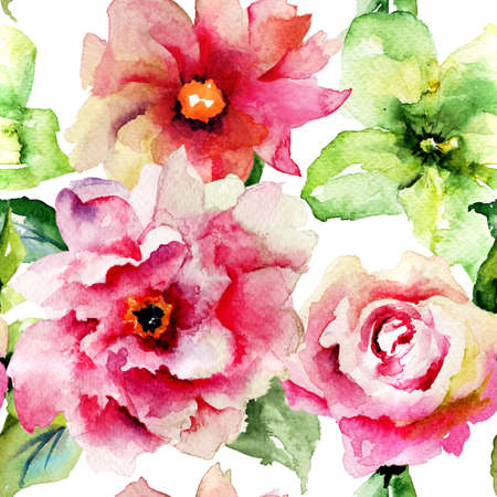 Seamless pattern with Roses and Gerber flowers, watercolor illustration Stock Photo