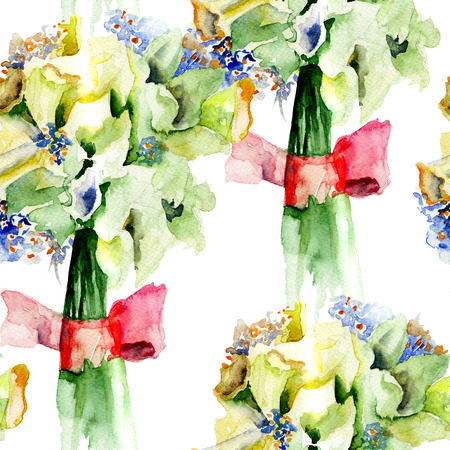 narcissus: Seamless pattern with Bunch of Narcissus flowers, watercolor painting
