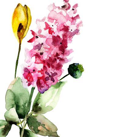 양식에 일치시키는 꽃 수채화 그림