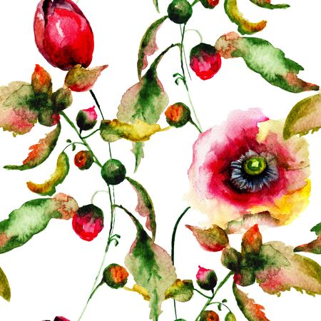 decorative wallpaper: Seamless wallpaper with Decorative wild flowers, watercolor illustration