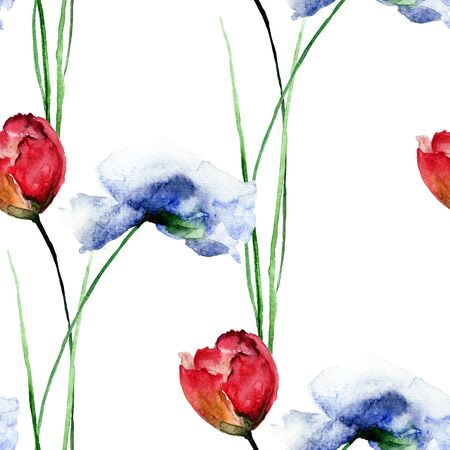 Seamless pattern with blue Poppies and Tulips flowers, watercolor illustration