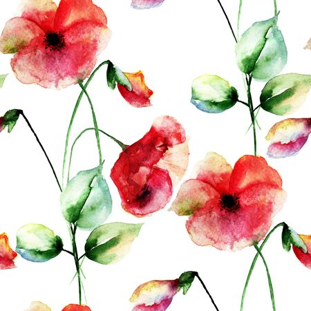 Seamless wallpaper with Colorful Poppies flowers, watercolor illustration