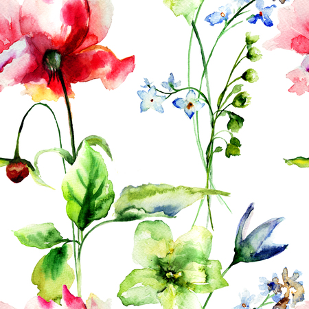 lily flower: Seamless wallpaper with flowers, watercolor illustration