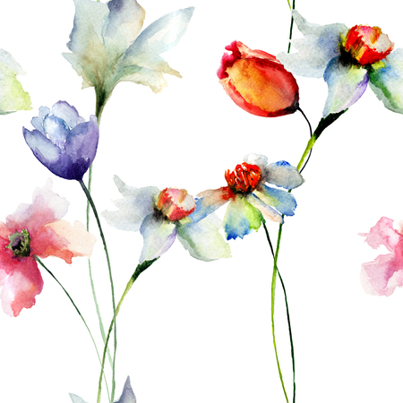 Seamless wallpaper with Narcissus andTulips flowers, watercolor illustration