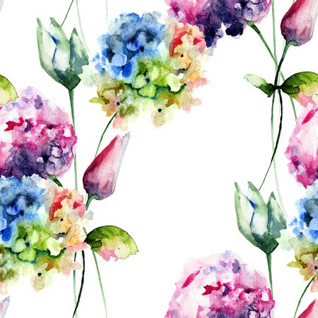 botanical illustration: Seamless pattern with Hydrangea and Tulips flowers, watercolor illustration