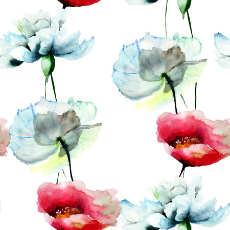 Seamless pattern with Tulips and Peony flowers, watercolor illustration Stock Photo