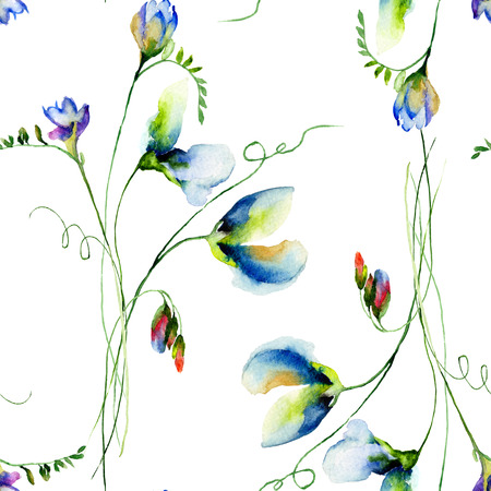 sweet pea: Seamless pattern with Sweet pea flowers, watercolor illustration