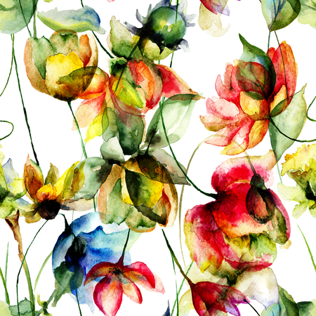 sweet pea: Seamless pattern with wild flowers, watercolor illustration