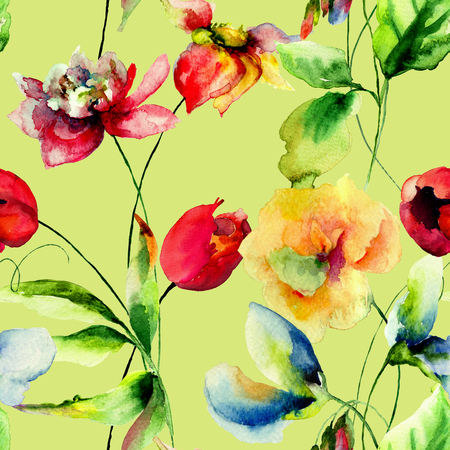 sweet pea: Seamless wallpapers with romantic flowers, watercolor illustration