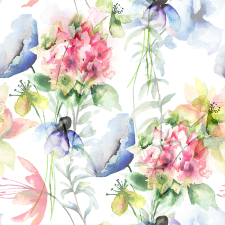 watercolor texture: Seamless pattern with wild flowers, watercolor illustration