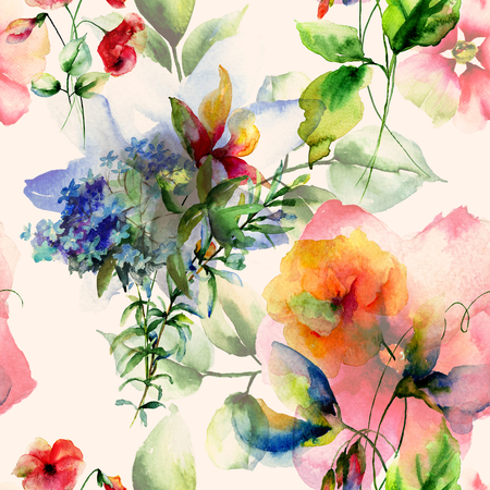 Seamless wallpaper with wild flowers, watercolor illustration Фото со стока
