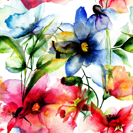 wall paper: Seamless wallpaper with spring flowers, watercolor illustration Stock Photo