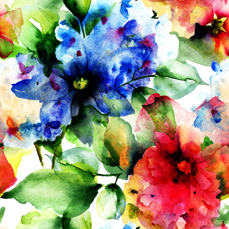 Seamless pattern with flowers, watercolor illustration