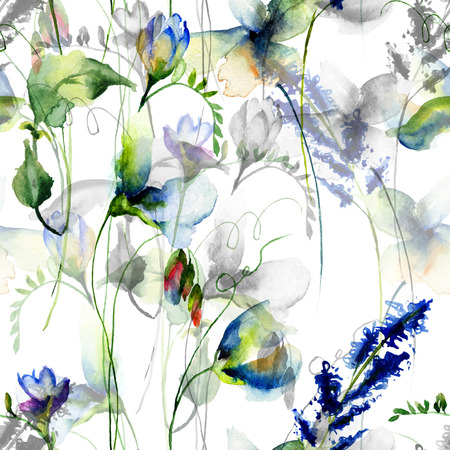 grunge floral: Seamless wallpaper with Sweet pea flowers, watercolor illustration