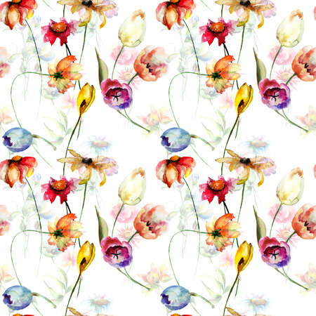 lily flowers: Seamless wallpaper with wild flowers, watercolor illustration Stock Photo