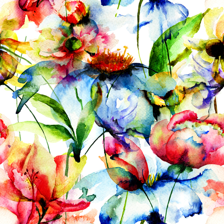 gerber daisy: Seamless wallpaper with Colorful flowers, watercolor illustration