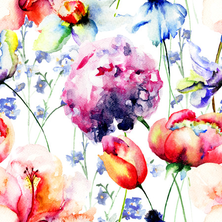 Seamless wallpaper with Beautiful flowers, watercolor illustration Stock Photo