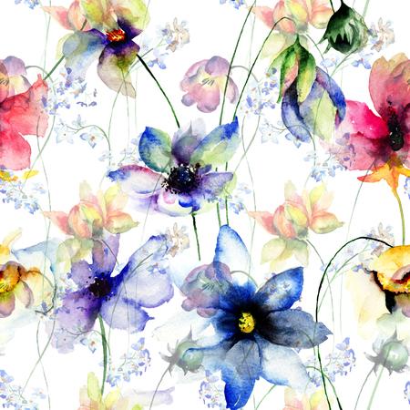 无缝图案装饰夏季花卉,水彩插图