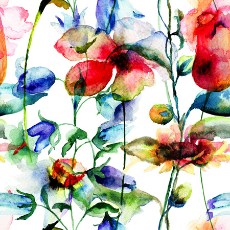 bell flower: Seamless pattern with Ipomea and Bell flower flowers illustration, watercolor painting Stock Photo