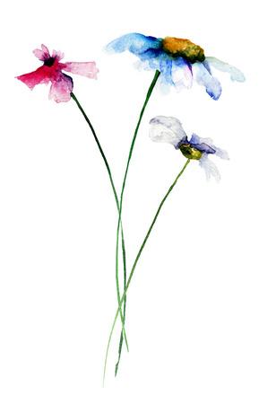 gerber daisy: Stylized flowers watercolor illustration Stock Photo